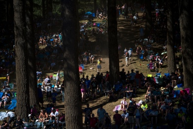 Fans make their way up and down the pathways to find a seat before the 450cc second moto at the Washougal National Motocross Saturday afternoon, July 29, 2017.